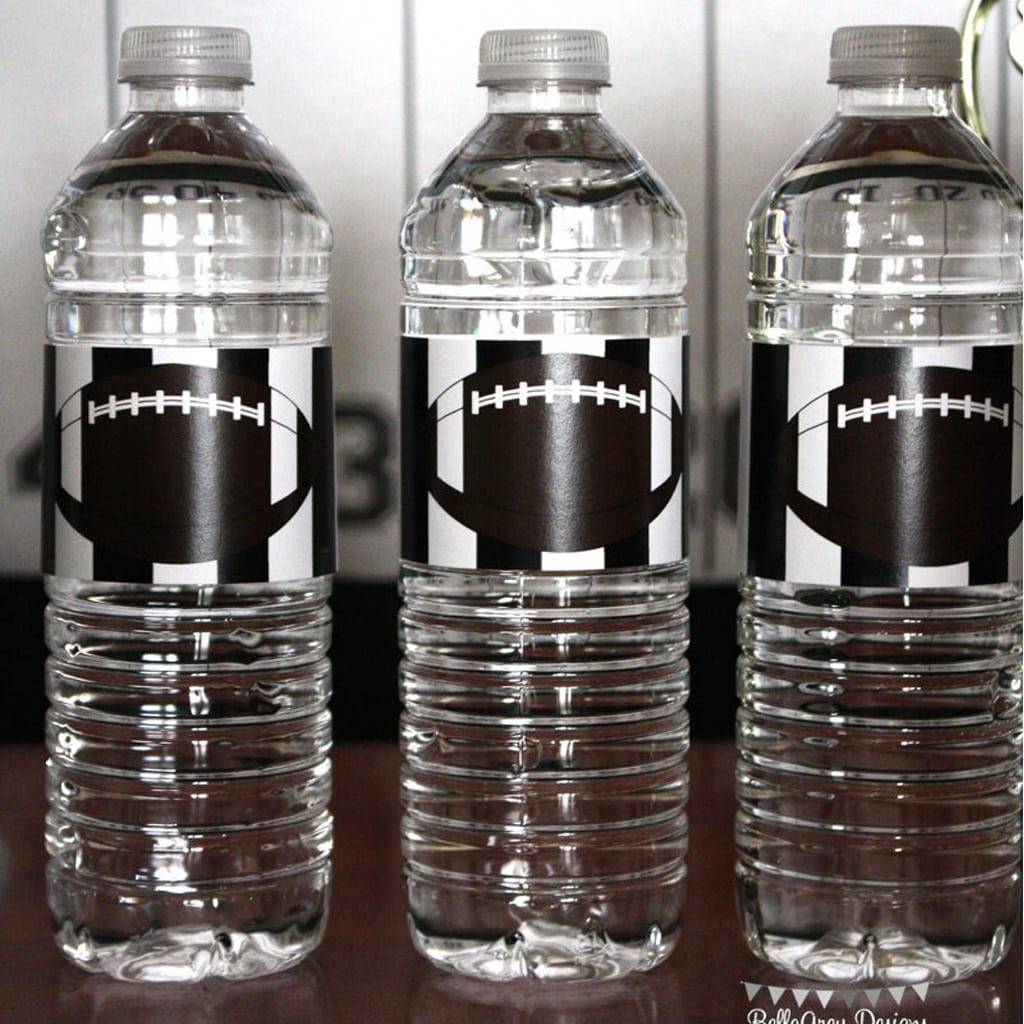football water bottle labels from Football Party by BellaGrey Designs