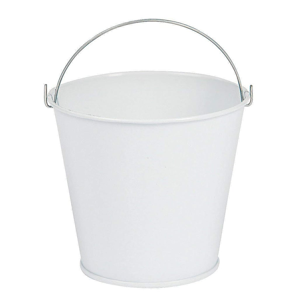 White Tinplate Pail with Handle