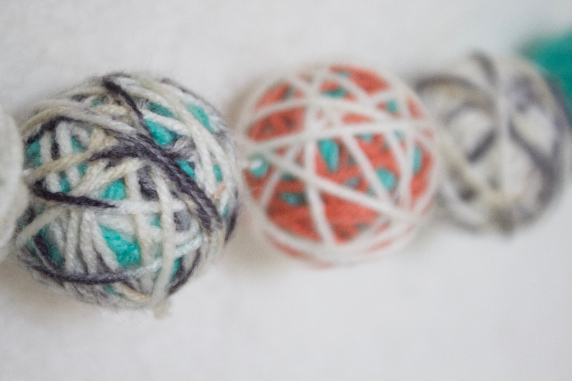 Yarn Ball Garland from Winter ONEderland Birthday Party by Jen T by Design | Black Twine
