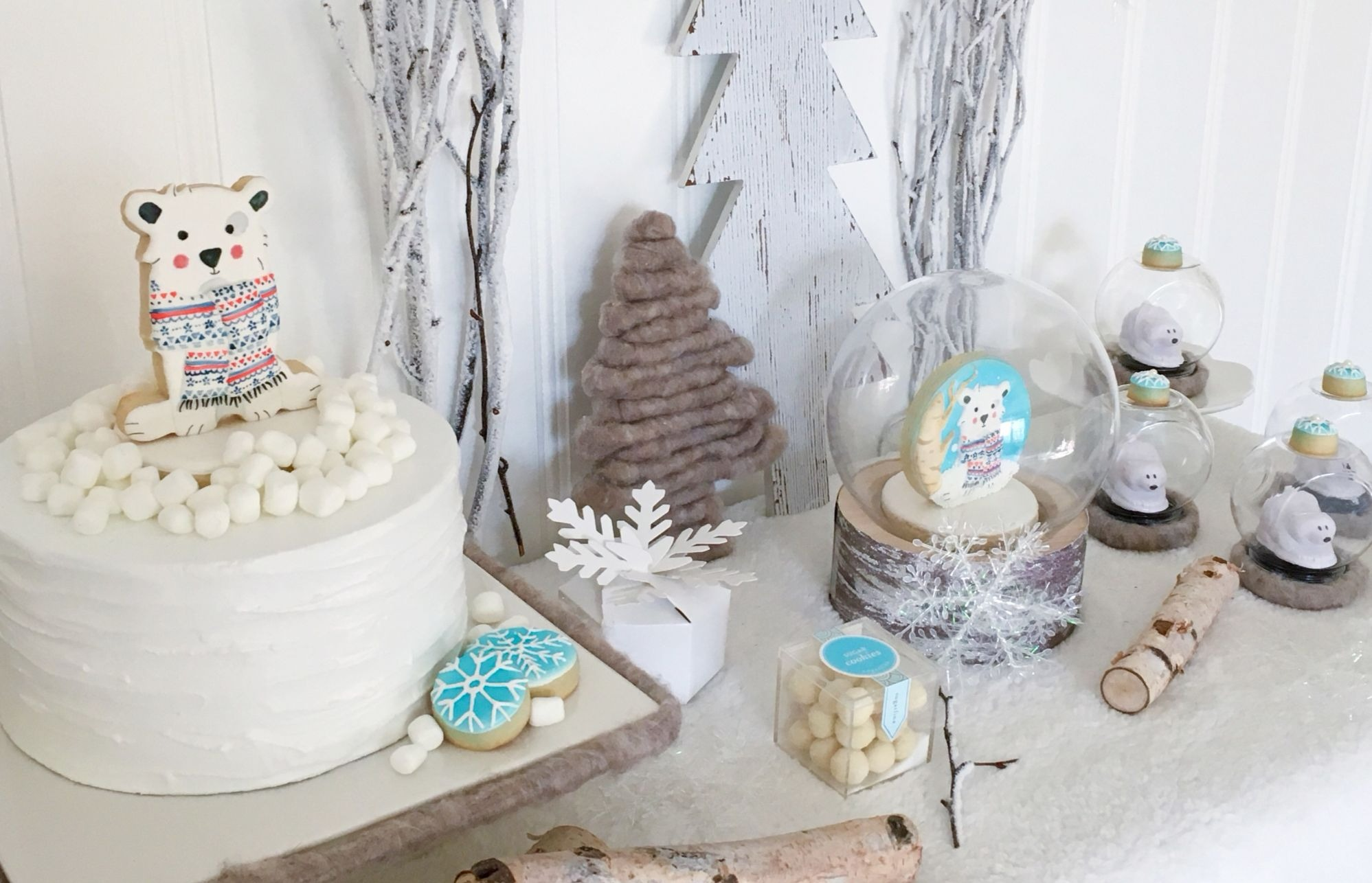 Dessert Table from Winter ONEderland Birthday Party by Jen T by Design | Black Twine