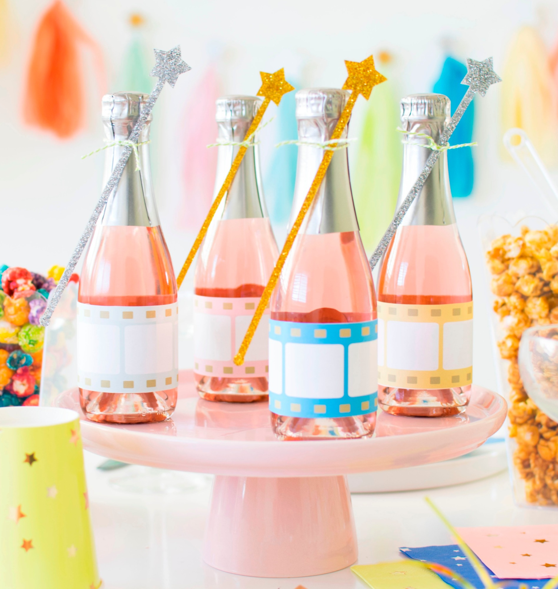 Mini Champagne Bottle Labels Free Printables by Twinkle Twinkle Little Party