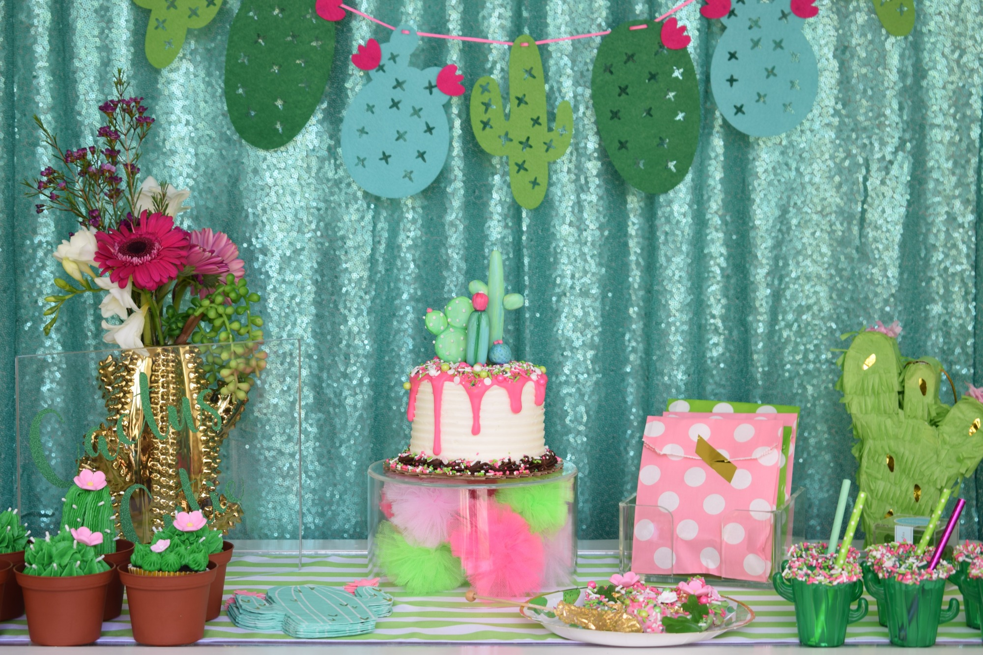 Cake and Dessert Table - Cactus Cutie Party Styled by A Party Made Perfect | Black Twine