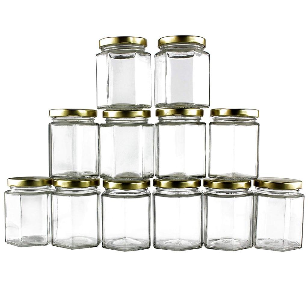 6-Ounce Hexagon Glass Jars (12-Pack)