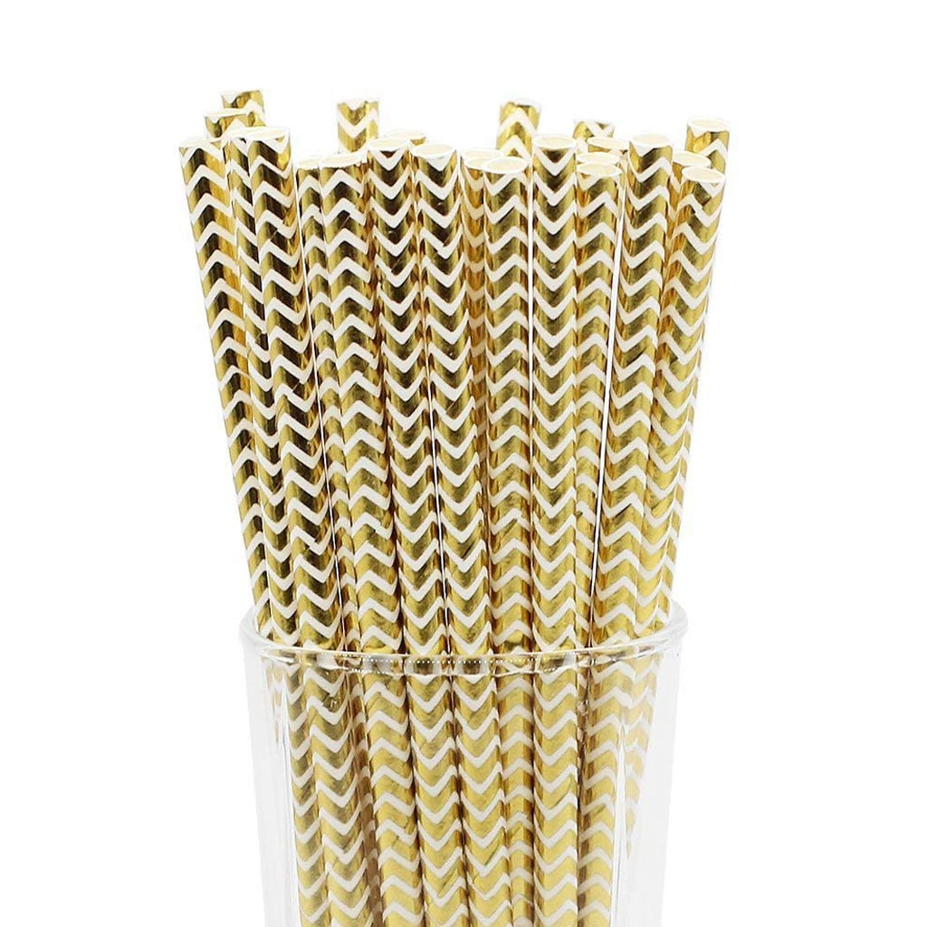 CTIGERS Metallic Gold Striped Paper Straws Pack of 25