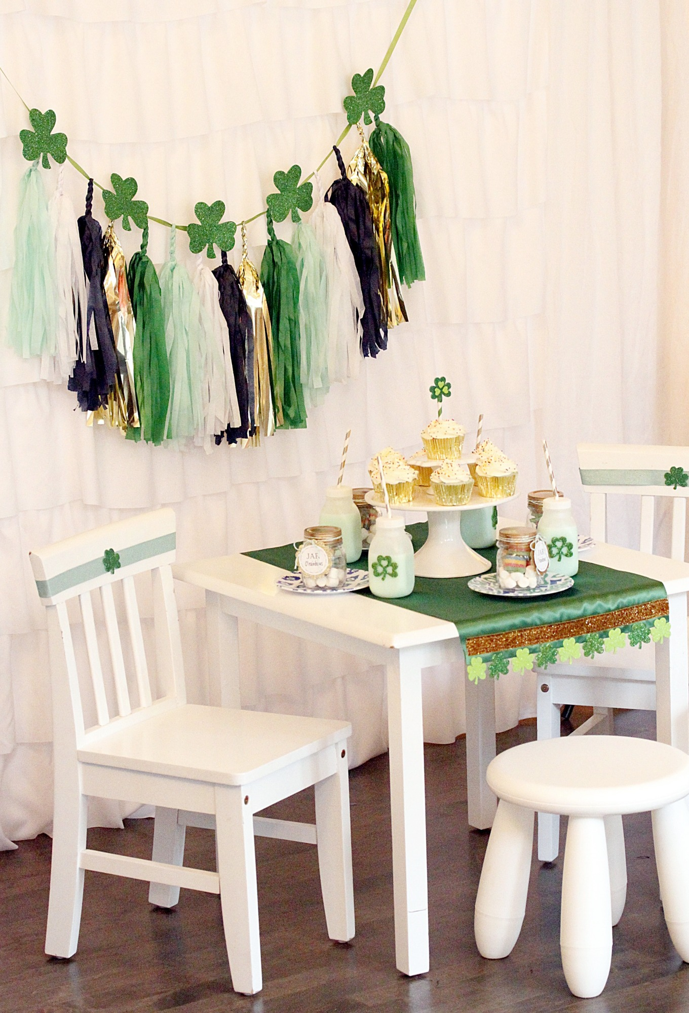 Garland and Table & Chairs from St. Patrick's Day Play Date styled by A Lovely Design | Black Twine