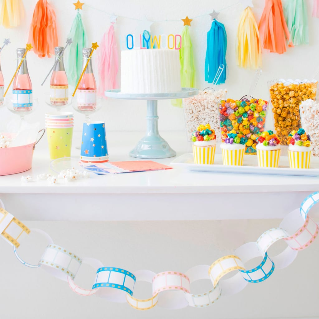 Film Paper Chain Garland Free Printables by Twinkle Twinkle Little Party