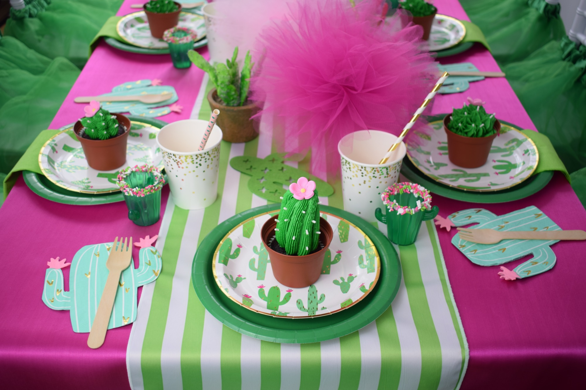 Place Setting from Cactus Cutie Party Styled by A Party Made Perfect | Black Twine