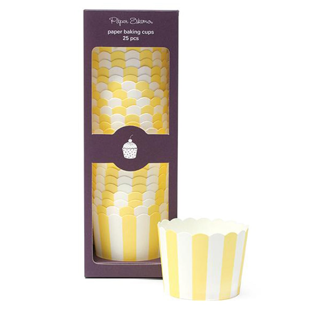 Yellow Stripe Baking Cups by Paper Eskimo