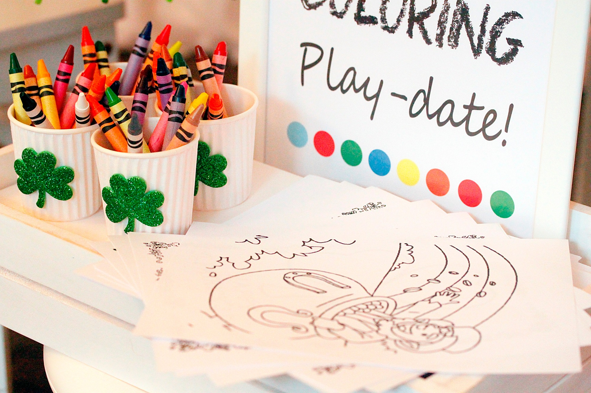 Crayons and color pages from St. Patrick's Day Play Date styled by A Lovely Design | Black Twine