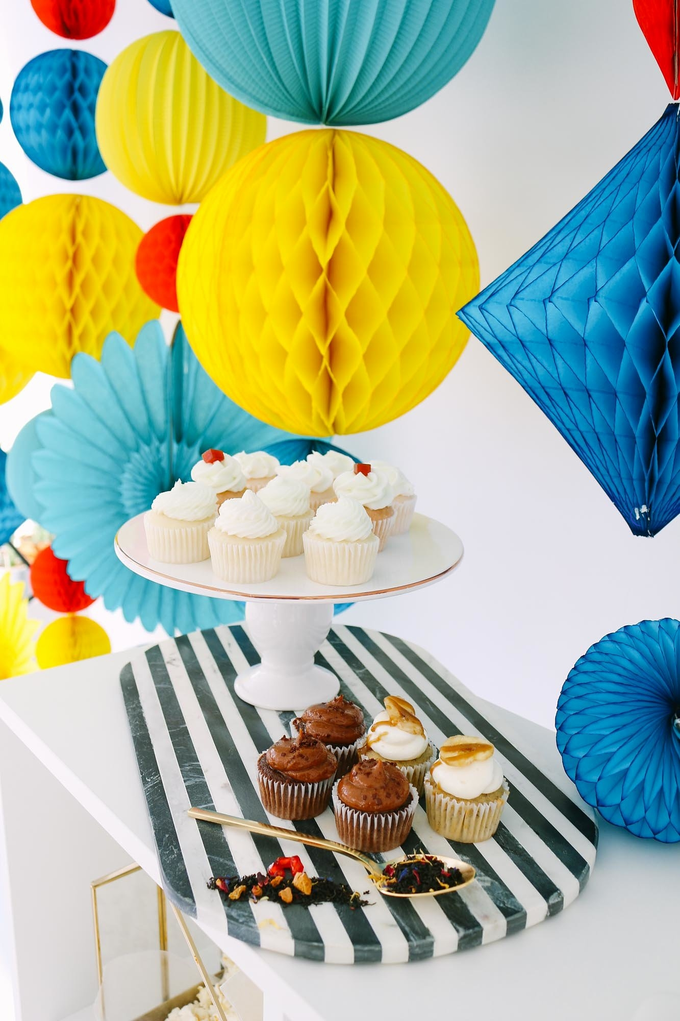 Cupcakes from Mod Color Party Styled by Tinseldot | Black Twine