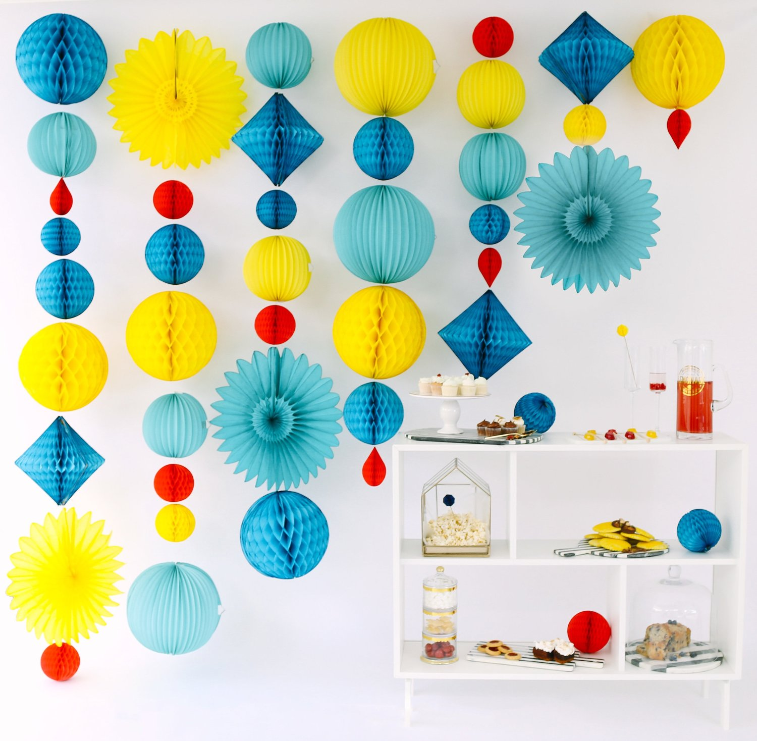 Lantern Honeycomb Garland and Food Table from Mod Color Party Styled by Tinseldot | Black Twine