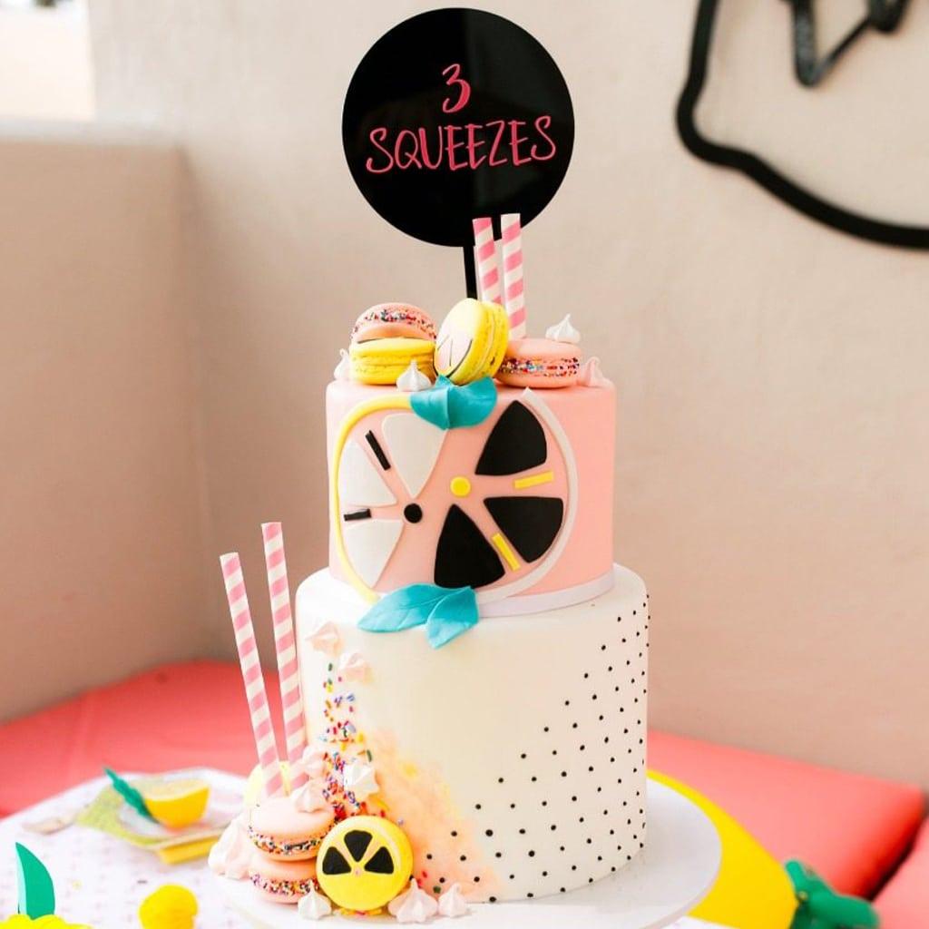 acrylic cake topper | midnight confetti