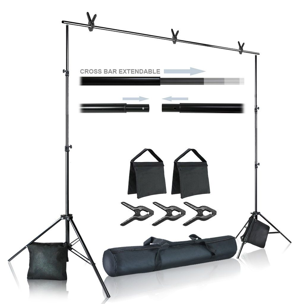 Julius Studio Photo Video Studio 10 ft. Wide Cross Bar 7.4 ft. Tall Background Stand Backdrop Support System Kit with Carry Bag, Photography Studio