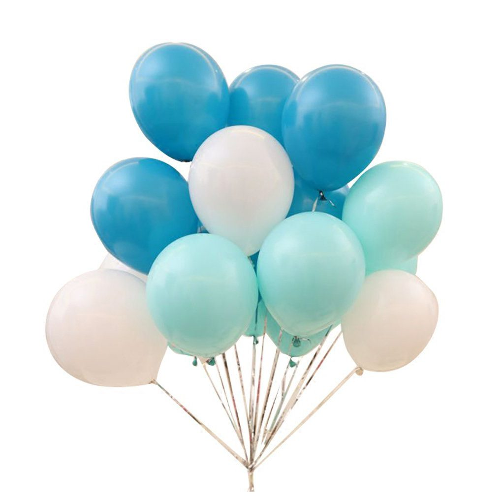 Blue, Green and White Balloons
