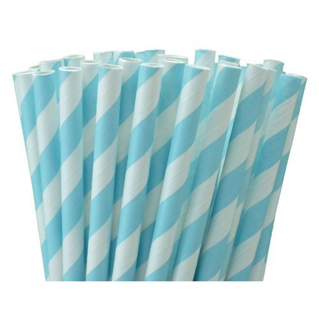 blue and white straws
