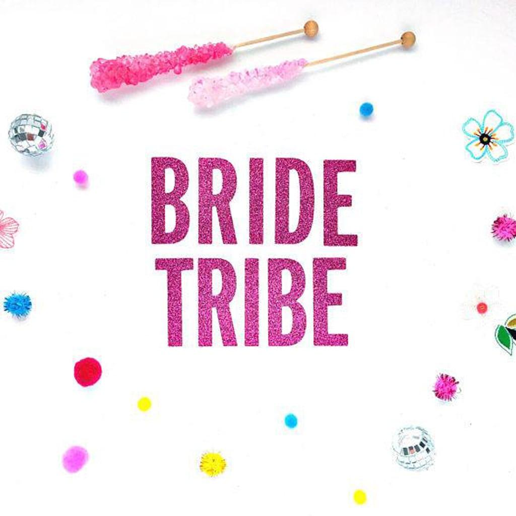 bride tribe glitter banner