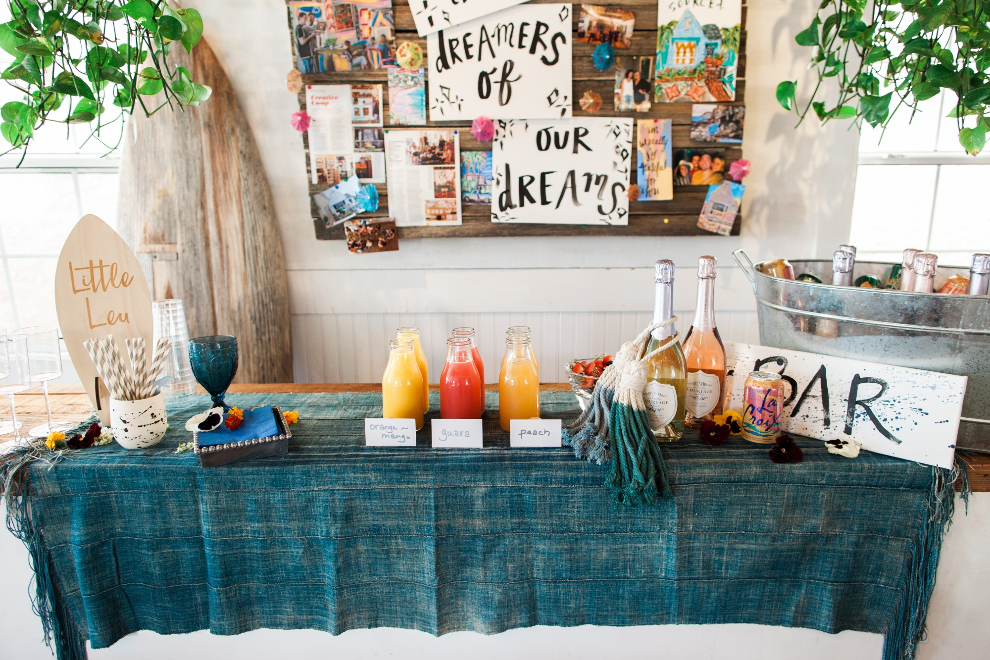 Beverages Drinks Bar from Beach Baby Shower Styled by Seventh Bixel | Black Twine