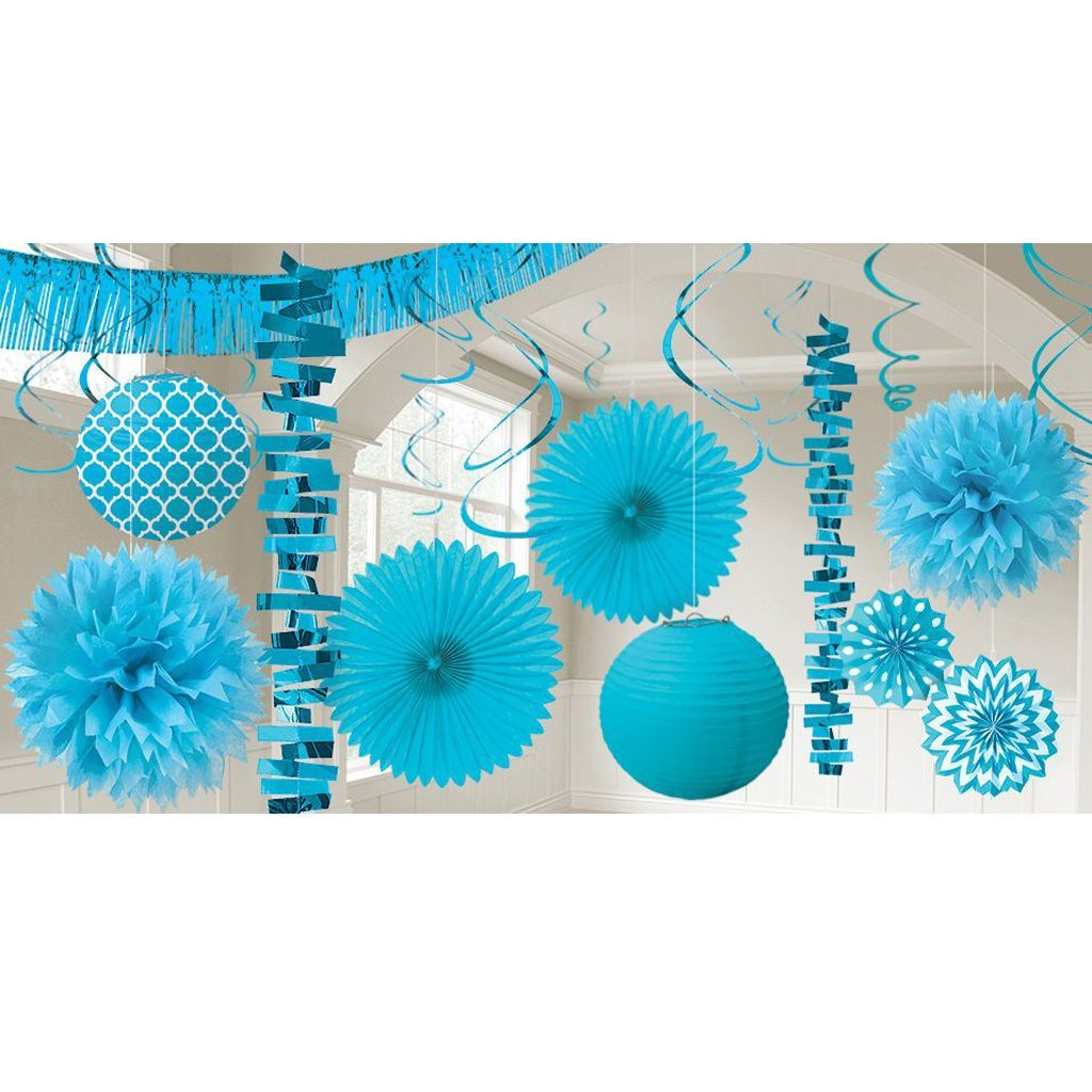 blue garland and paper fan set party city