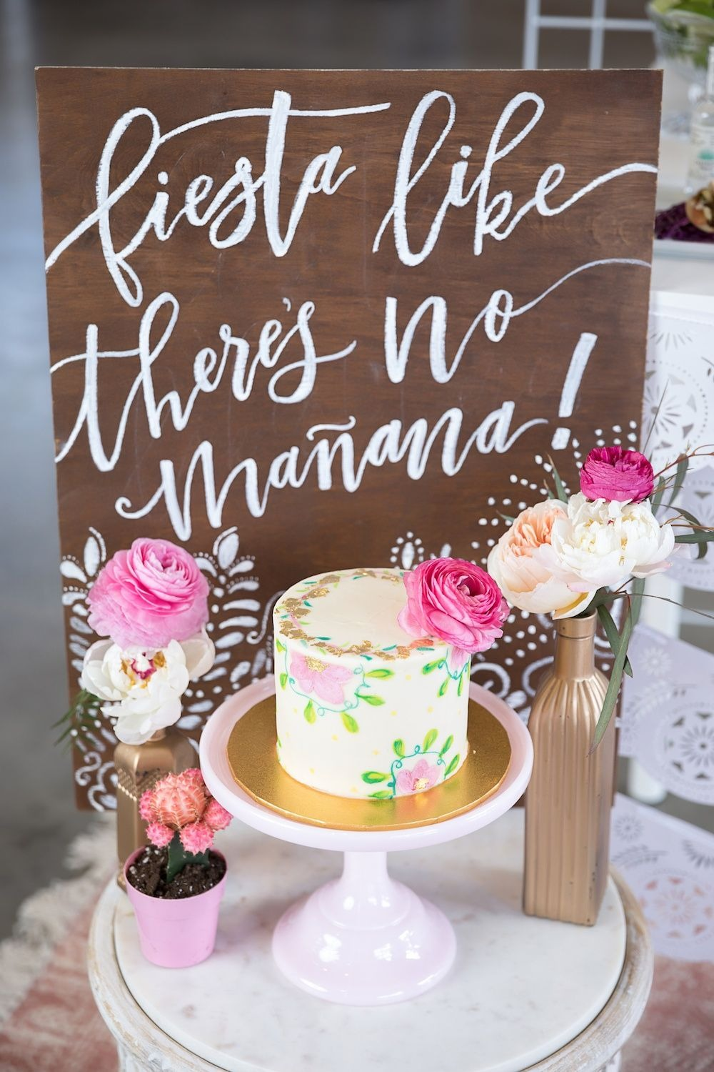 Cake and Sign from Chic Floral Fiesta Styled by One Stylish Party | Black Twine