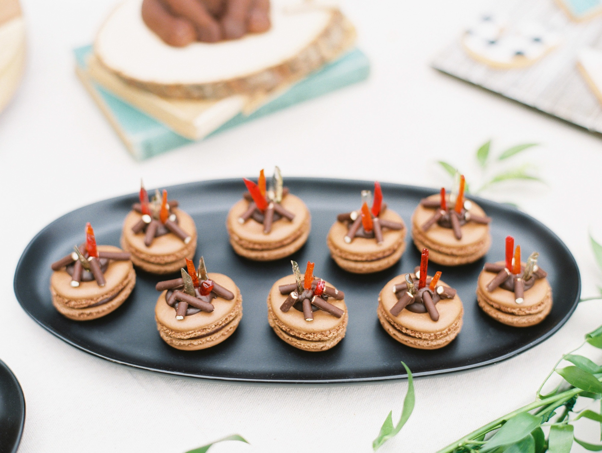 Desserts Campfire Macarons from Classic Camping Party Styled by Deets & Things | Black Twine