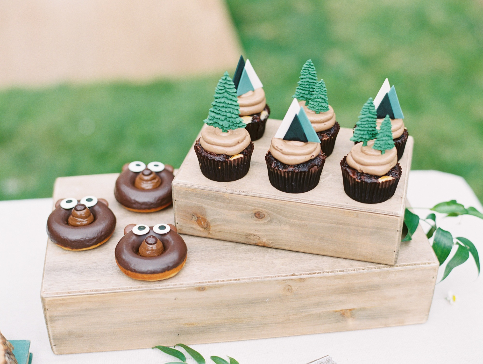 Desserts Cupcakes Donuts from Classic Camping Party Styled by Deets & Things | Black Twine