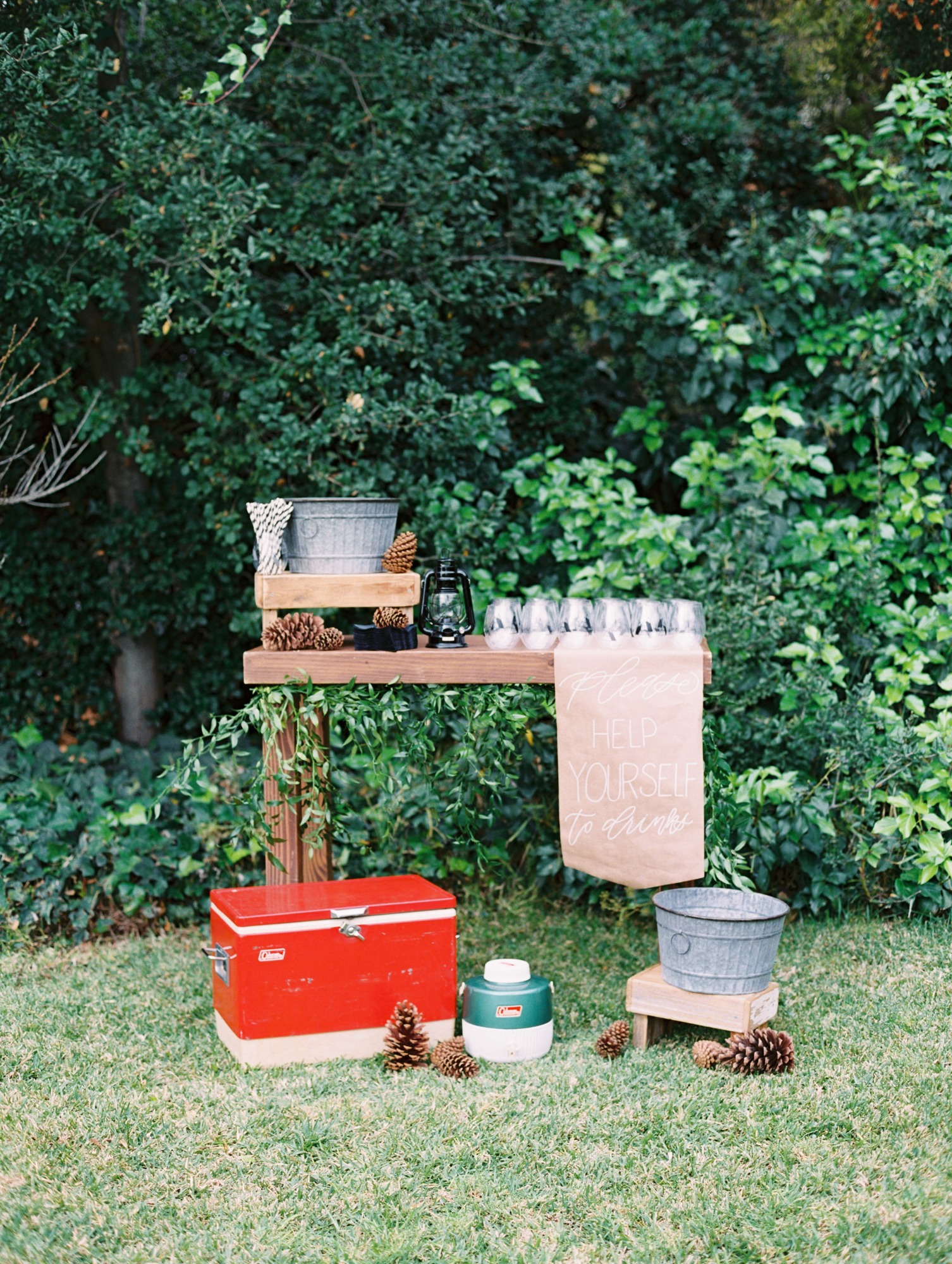 Drink Station from Classic Camping Party Styled by Deets & Things | Black Twine