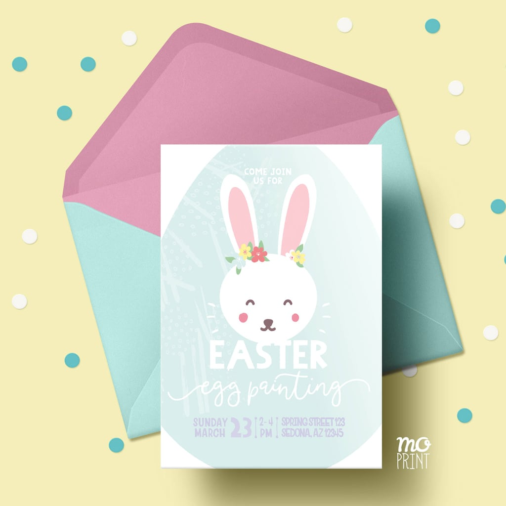 MoPrint Easter egg painting invitation - Easter invitation - Easter bunny - 5x7 invite - printable digital