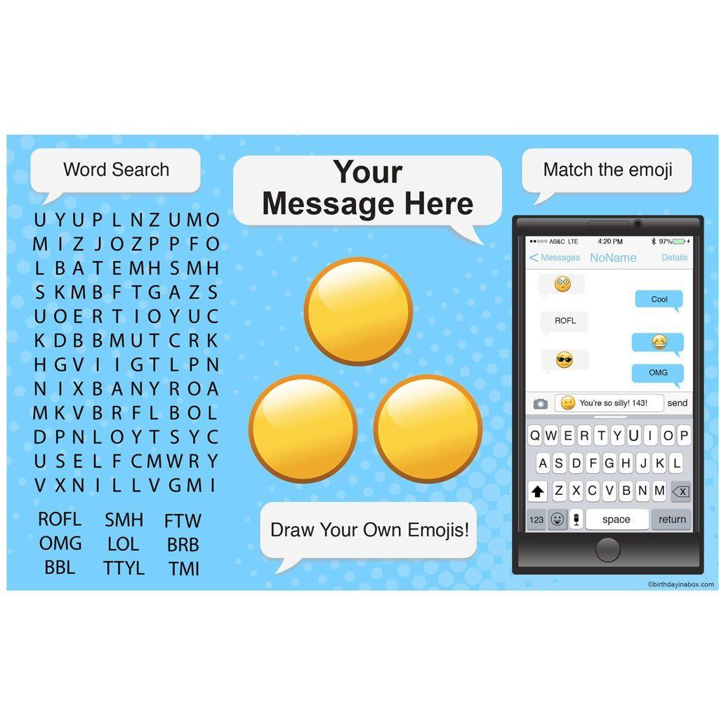 Emoji personalized activity mat