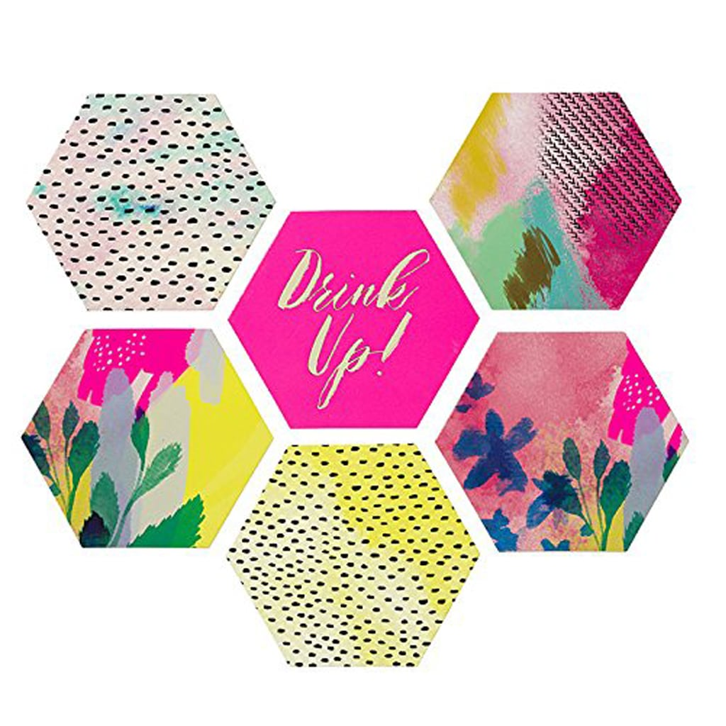 fluorescent floral coasters