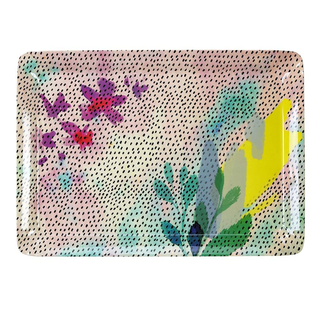 Fluorescent Floral Melamine Tray