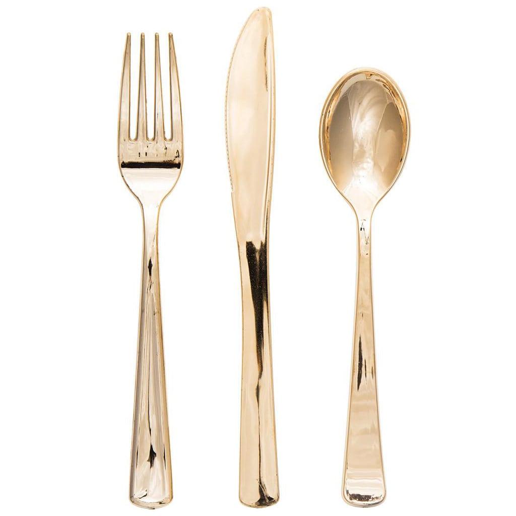 gold plastic cutlery utensils