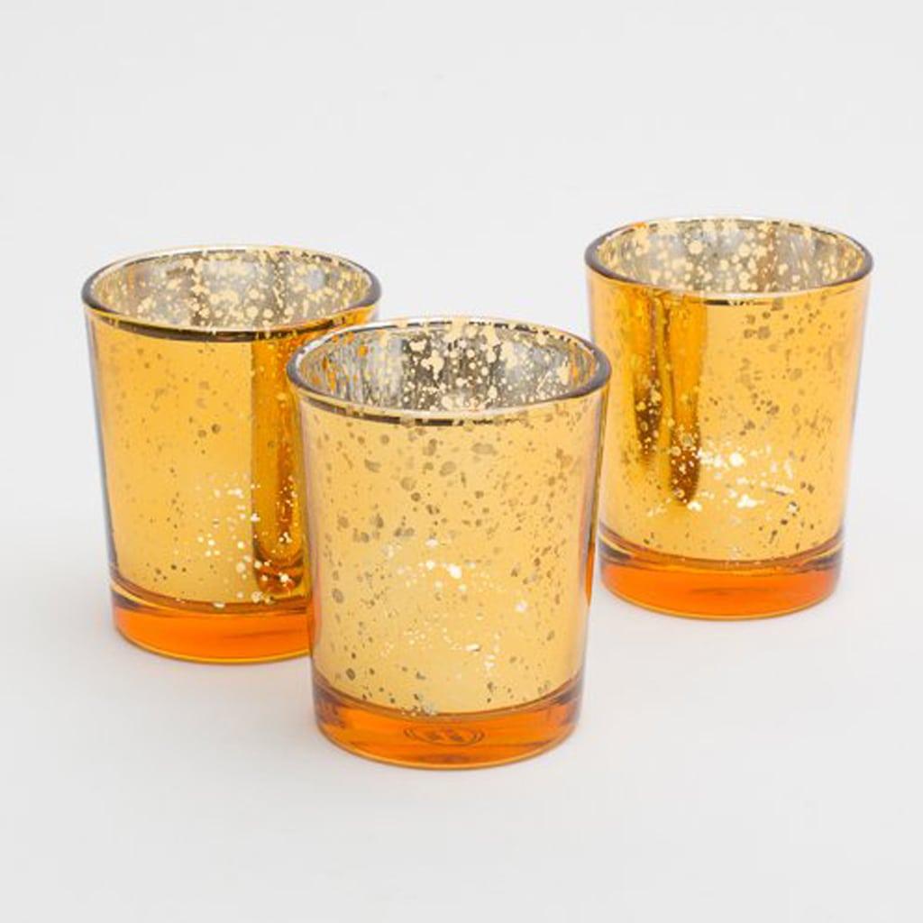 Richland Amber Gold Mercury Votive Candle Holders Set of 12