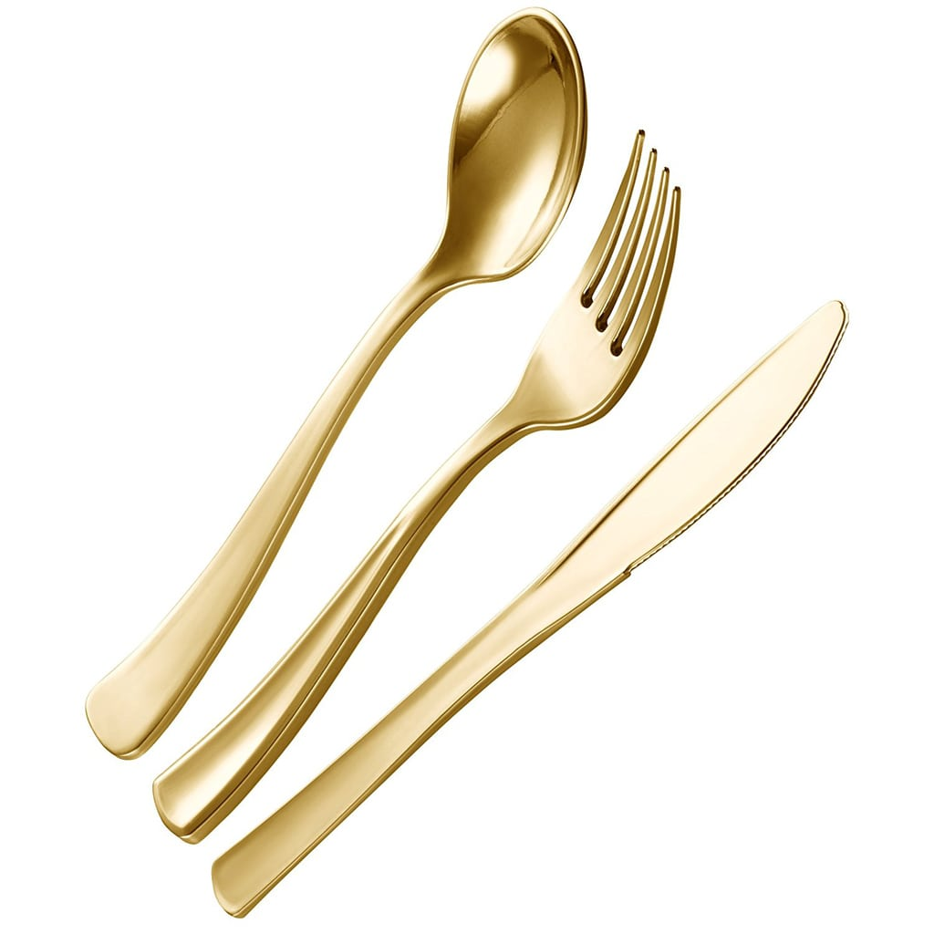 Plastic Cutlery Silverware Extra Heavyweight Disposable Gold Flatware