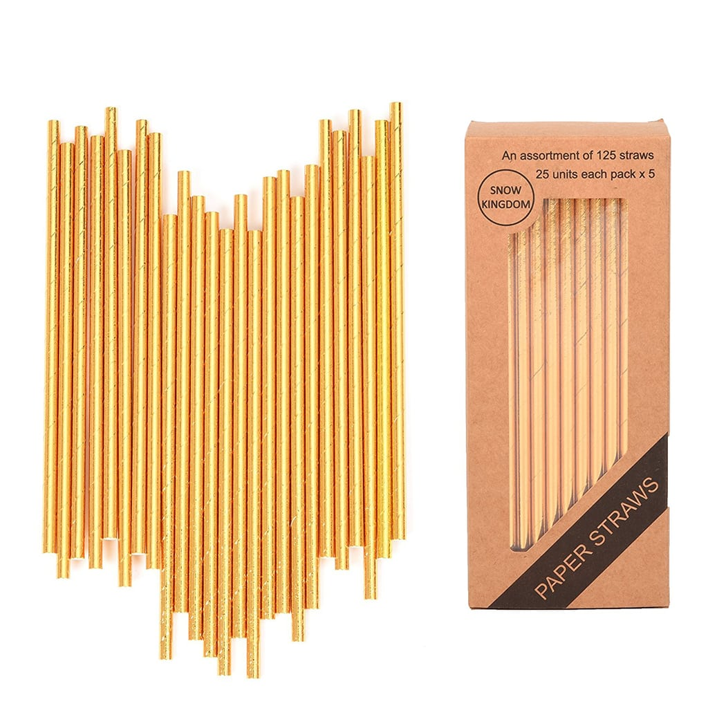 metallic gold and silver straws