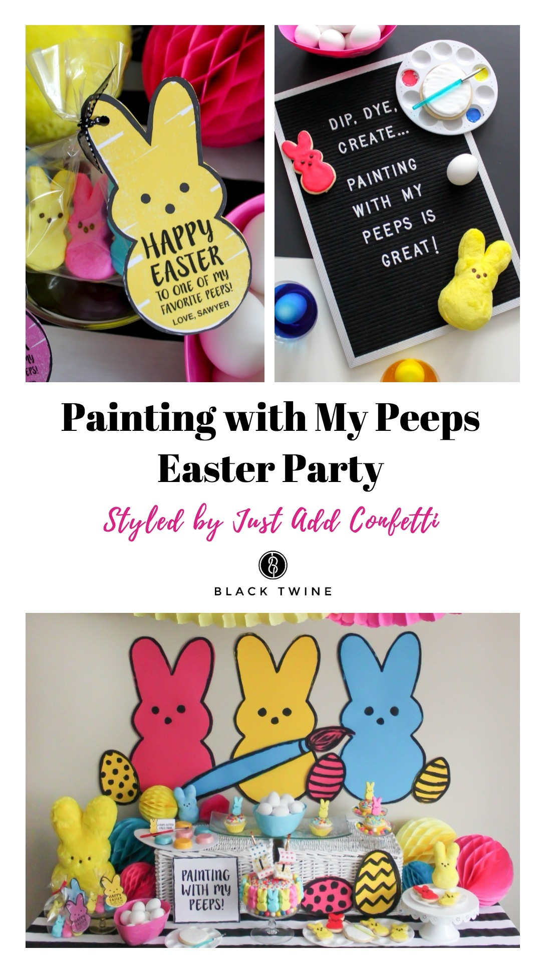 How to Host a Peeps Easter Party Styled by Just Add Confetti | Black Twine