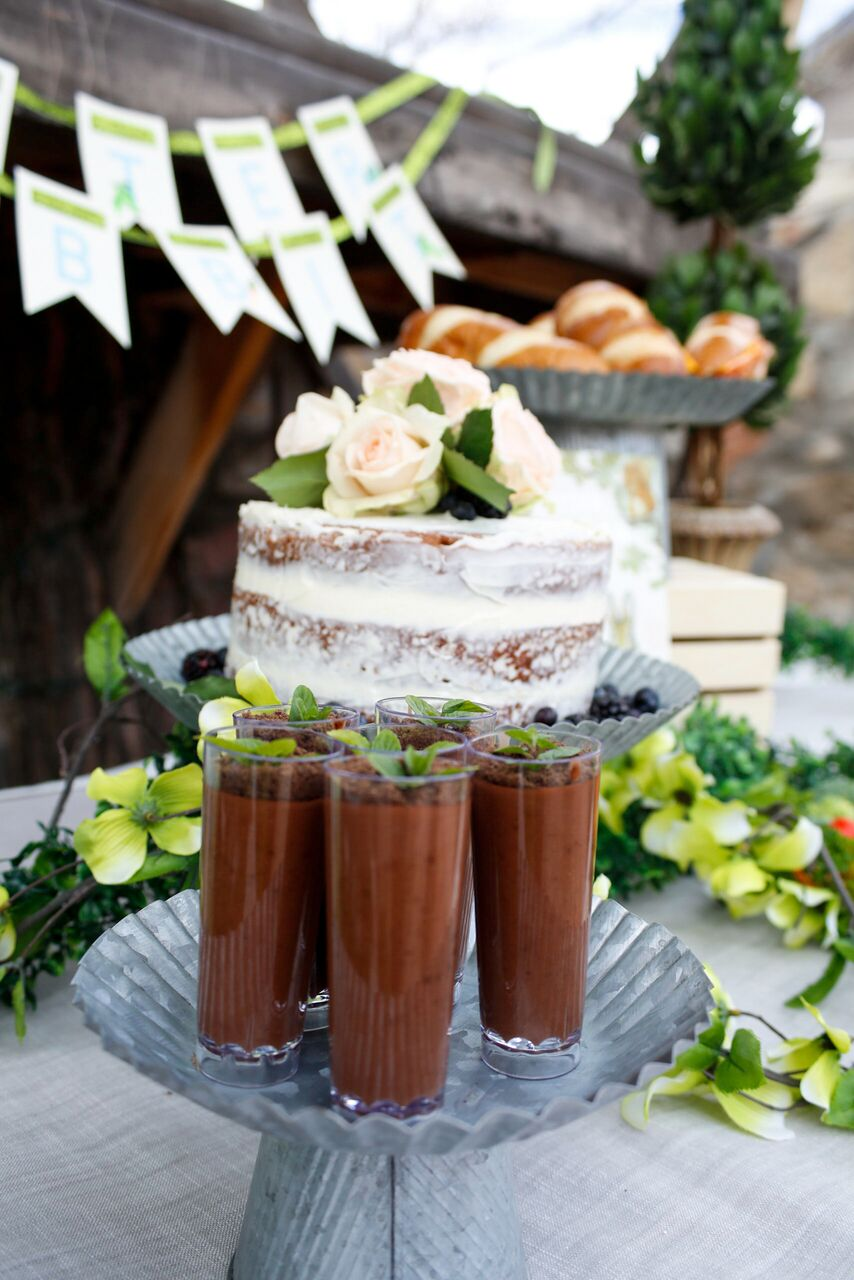 Naked Cake and Chocolate Pudding Shots from Peter Rabbit Party by Jordan's Easy Entertaining
