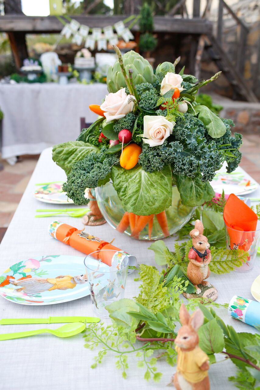 Crudite Centerpiece and Table settings for Peter Rabbit Party by Jordan's Easy Entertaining
