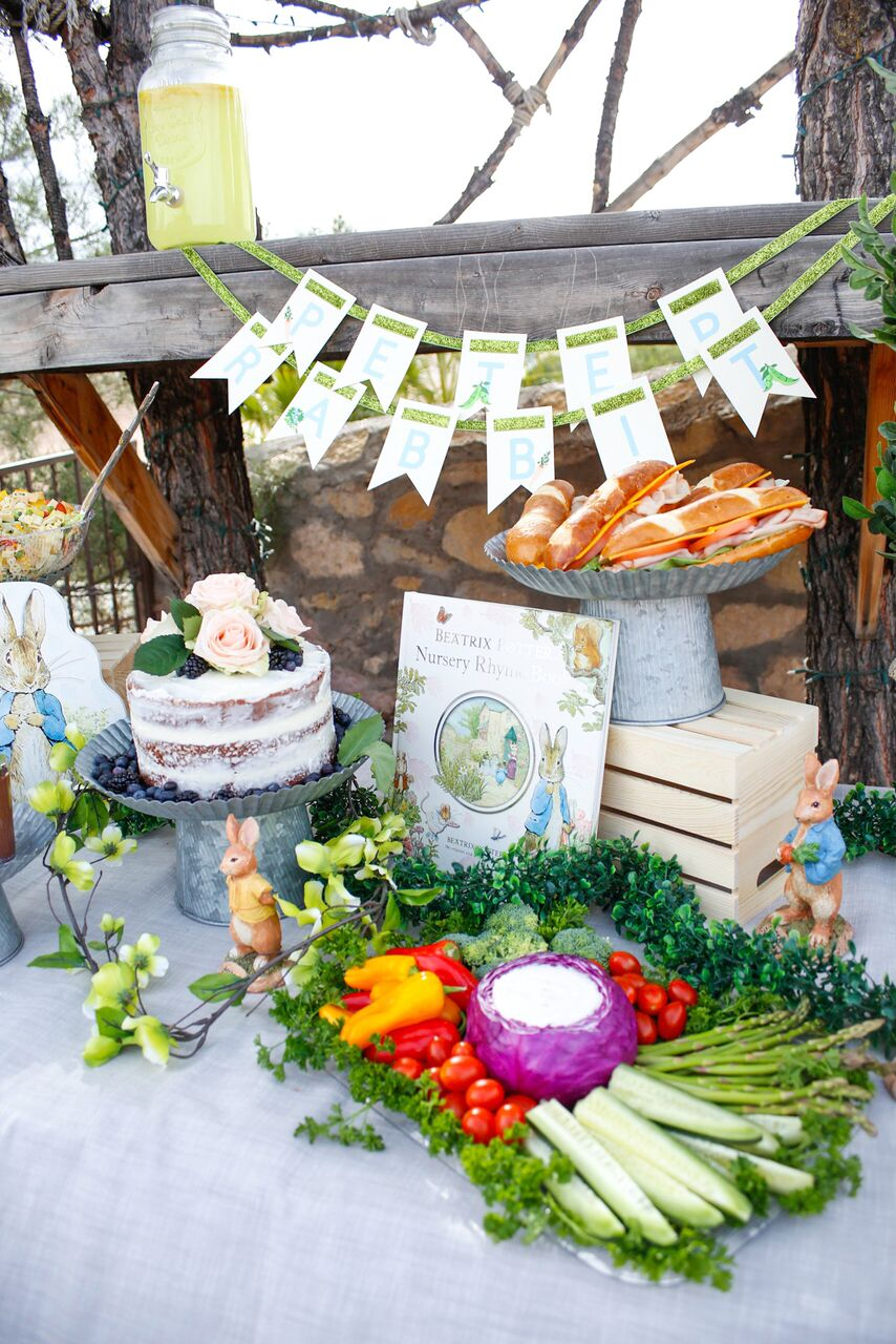 Veggie Crudite Plate and Sandwiches for Peter Rabbit Party by Jordan's Easy Entertaining