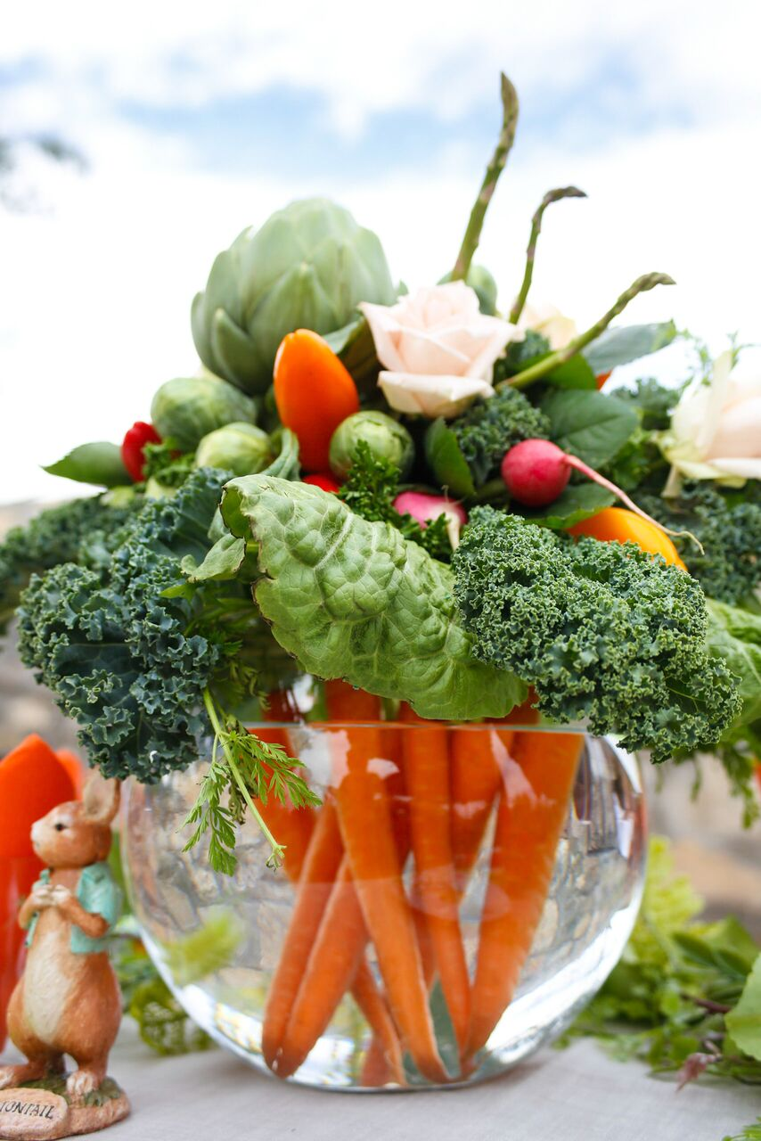 Crudite Centerpiece for Peter Rabbit Party by Jordan's Easy Entertaining