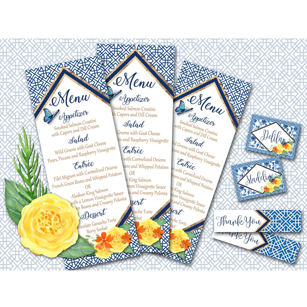 Chinoiserie Bridal Shower Menu - Favor Tag - Place Card Collection - PRINTABLE FILE by A Lovely Design