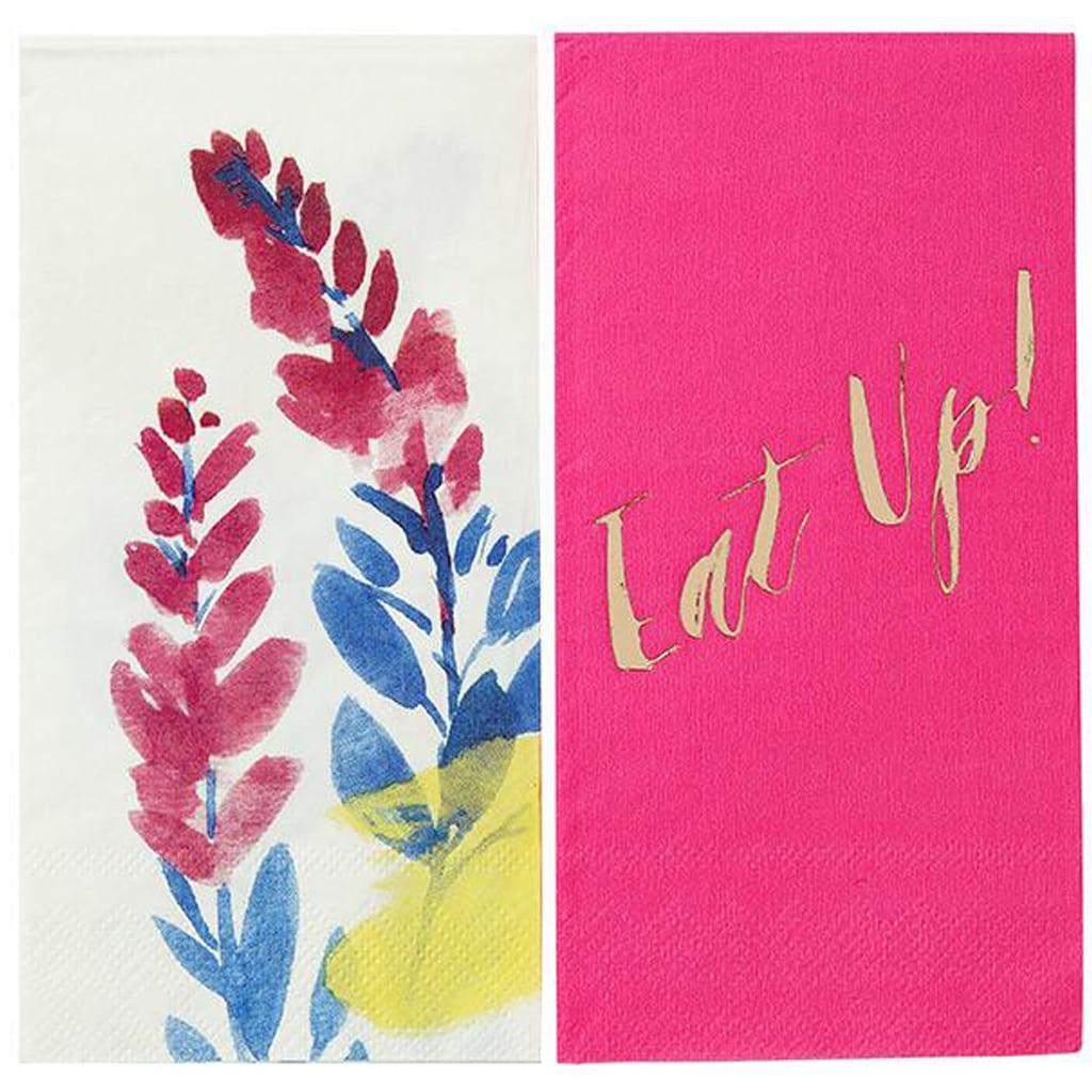 neon pink floral napkins
