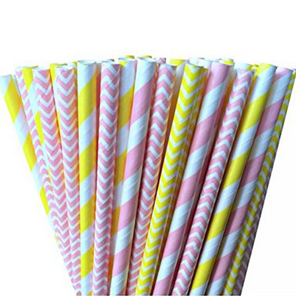 pink and yellow paper straws
