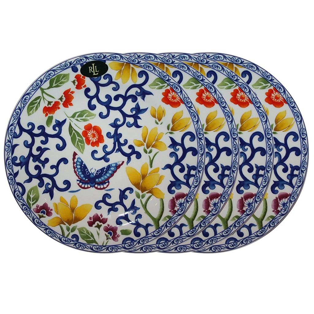 """Ralph Lauren Mandarin Blue Collection 9 1/4"""" Butterfly Lunch Plate (Set of 4)"""