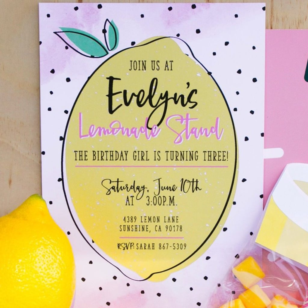 DIY printable lemonade party invitation | midnight confetti