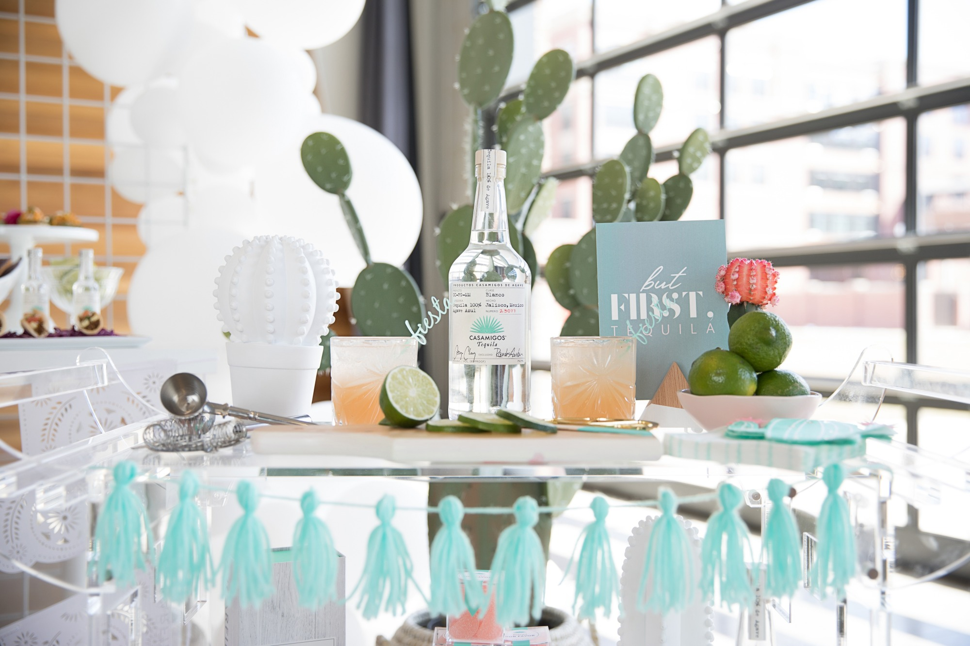 Casamigos and Palomas on Bar Cart from Chic Floral Fiesta Styled by One Stylish Party | Black Twine