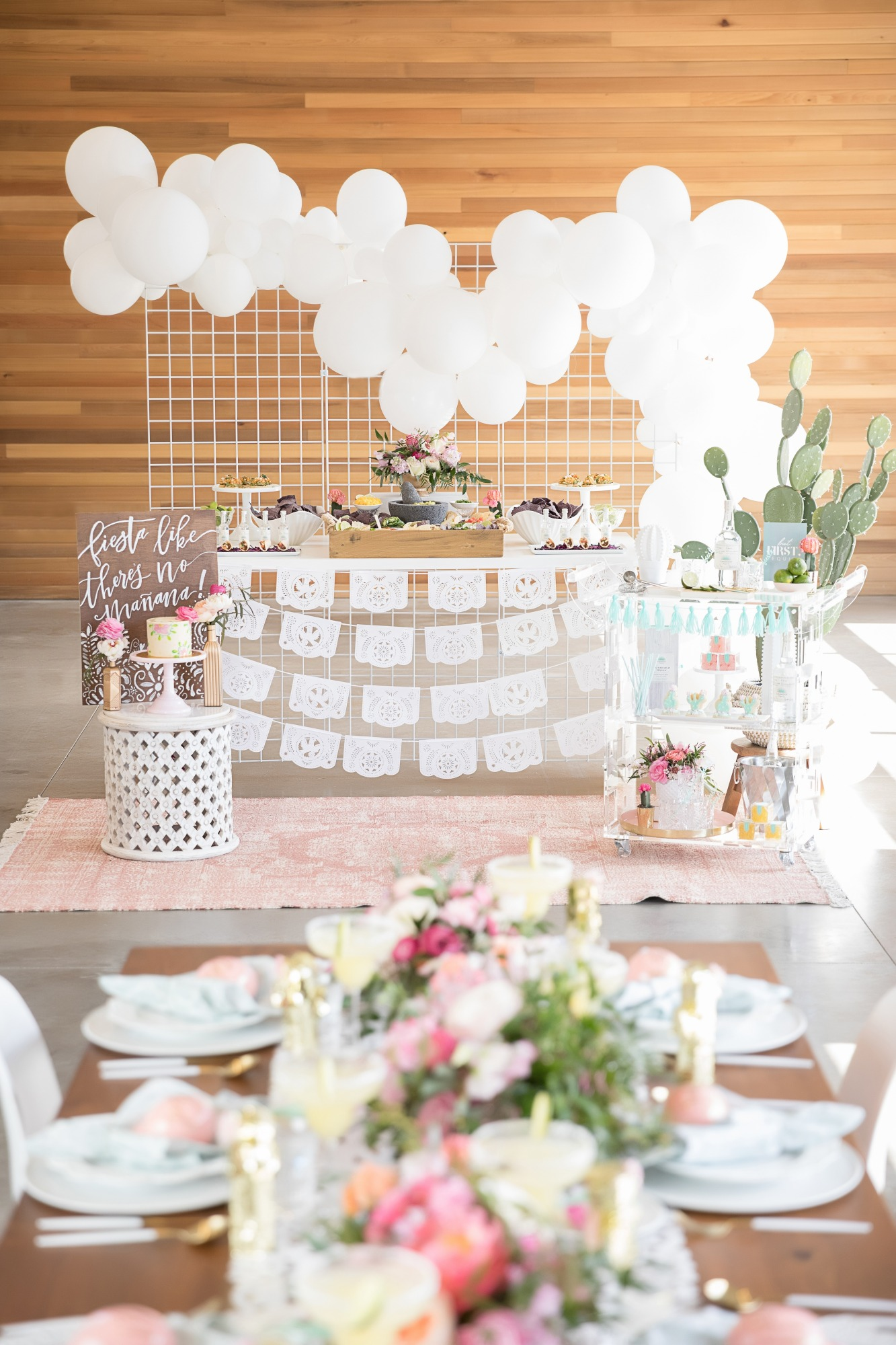 Food and Tablescape from Chic Floral Fiesta Styled by One Stylish Party | Black Twine