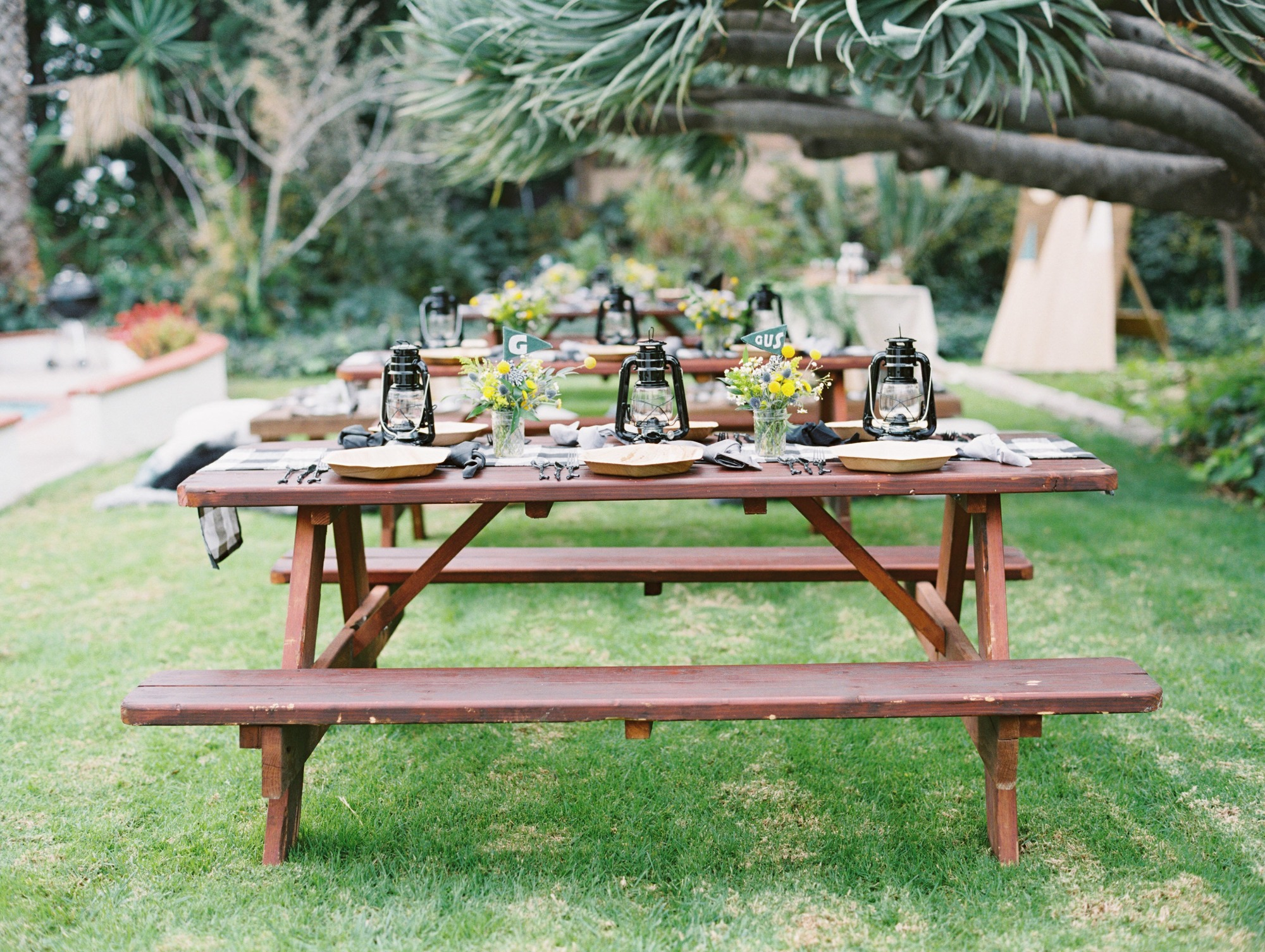 Picnic Table from Classic Camping Party Styled by Deets & Things | Black Twine