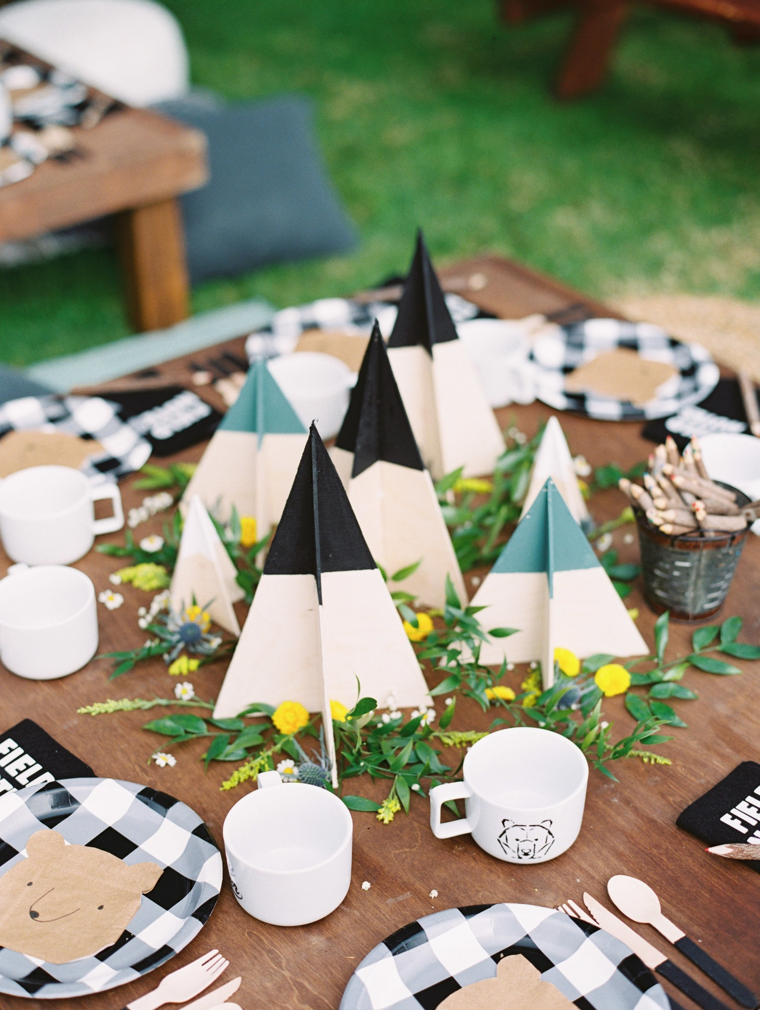 Pine Tree Decor from Classic Camping Birthday Party Styled by Deets & Things | Black Twine