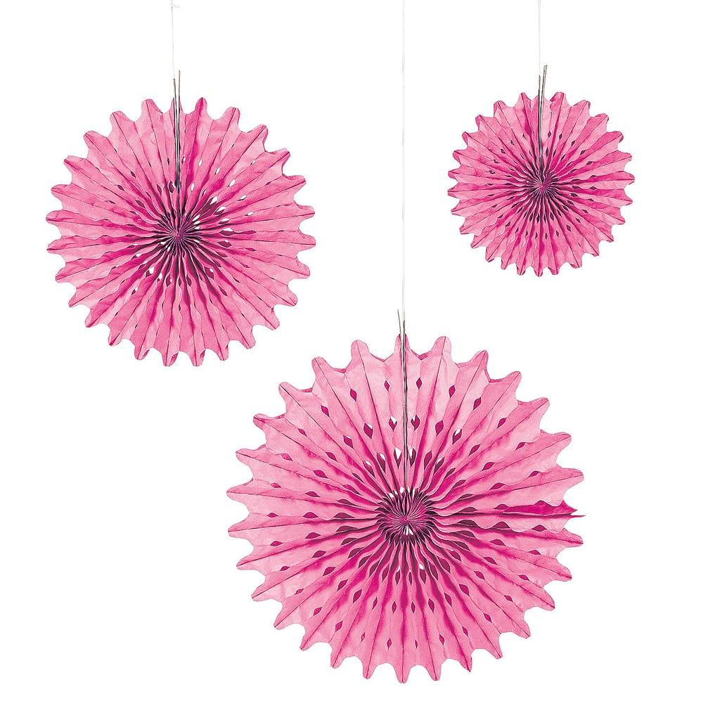 Pink Tissue Fans (4 ct)