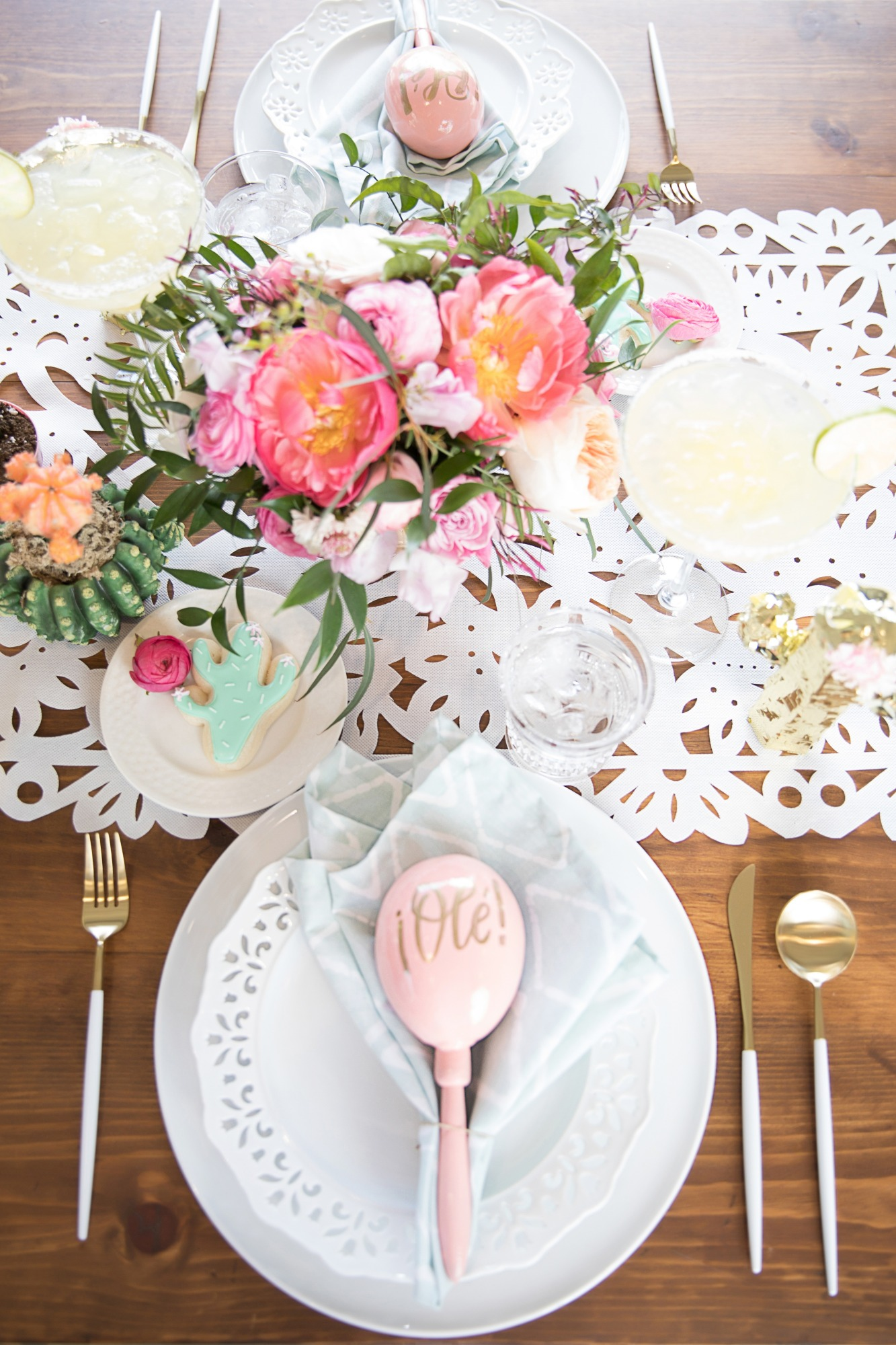 Place Setting and Tablescape from Chic Floral Fiesta Styled by One Stylish Party | Black Twine